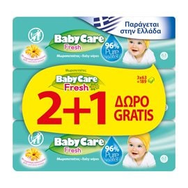 Babycare Fresh 63x2+1 PCS FREE BABYCARE Wet Wipes