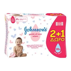 Johnson's Baby Gentle All Over Μωρομάντηλα 2+1 ΔΩΡΟ JOHNSON'S BABY ΜΩΡΟΜΑΝΤΗΛΑ
