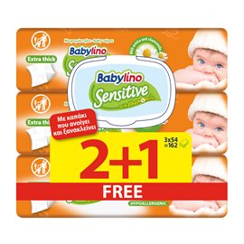 Babylino Sensitive 54x2+1 PCS FREE BABYLINO Wet Wipes