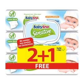 Babylino Fragrance Free 54x2+1 PCS FREE BABYLINO Wet Wipes